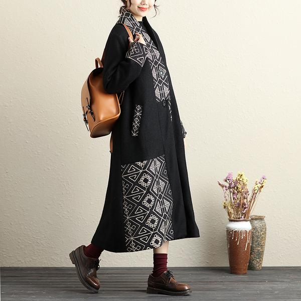 Embroidery Button-Front Long Sleeve Pockets Coat