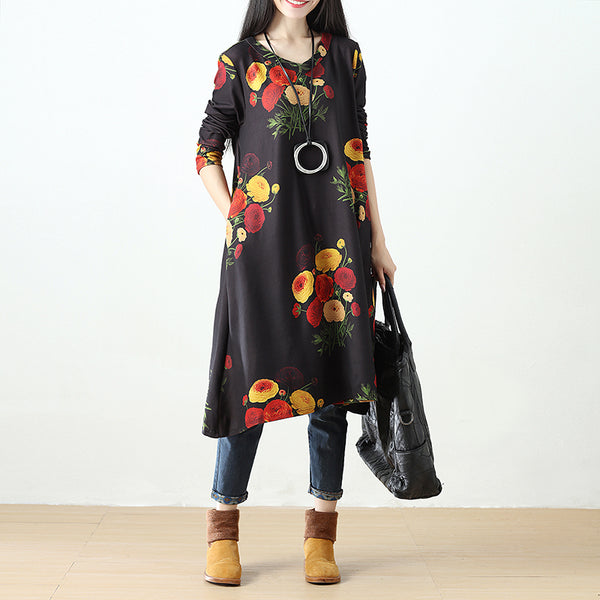 Women Printing Retro Pockets Black Long Sleeve Dress - Buykud