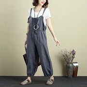 Casual Women Fashion Cotton Linen Gray Jumpsuit - Buykud
