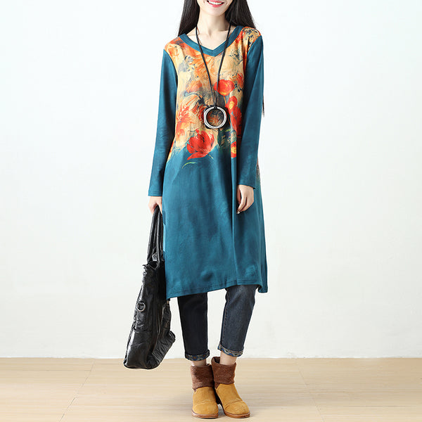 Women Printing Retro Pockets Long Sleeve Blue Dress - Buykud