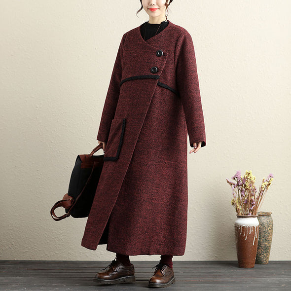 Winter Casual Women Long Sleeve Thick Red Wool Coat - Buykud