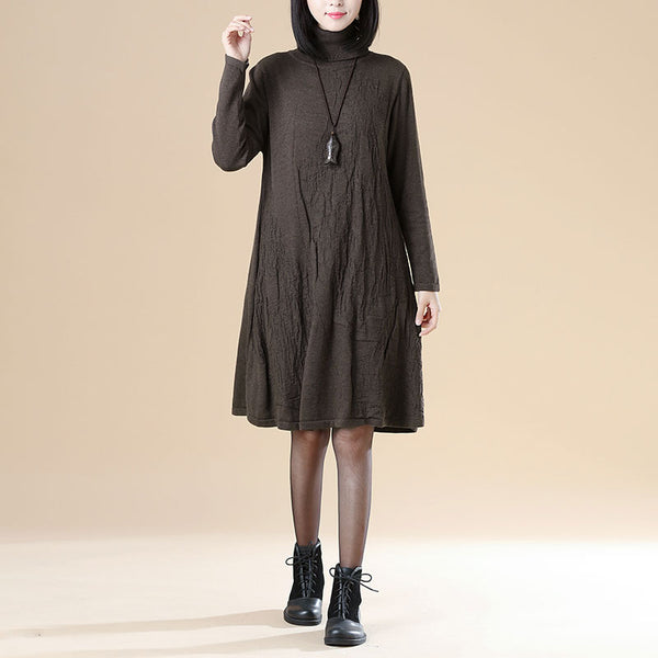 Autumn Jacquard Long Sleeve Knitted Sweater Coffee Dress For Women
