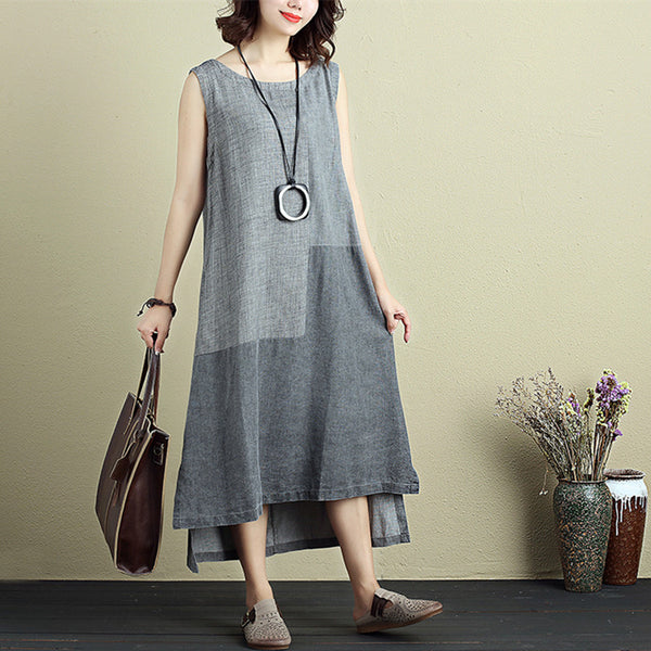 Women Casual Round Neck Sleeveless Irregular Splitting Dress - Buykud