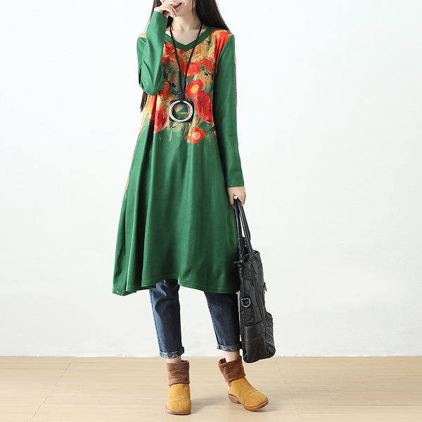 Women Printing Retro Pockets Long Sleeve Green Dress - Buykud