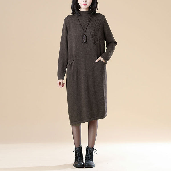 Autumn Jacquard Double Pocket Knitted Sweater Coffee Dress For Women