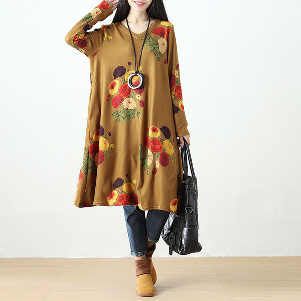 Women Printing Retro Pockets Dark Yellow Long Sleeve Dress - Buykud
