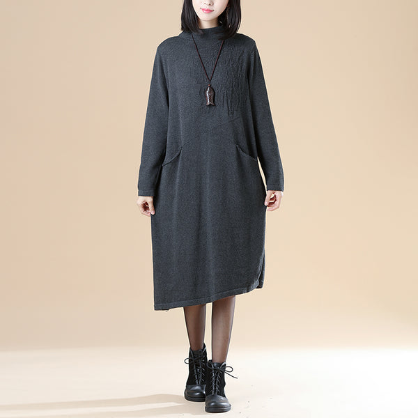 Autumn Jacquard Double Pocket Knitted Sweater Gray Dress For Women