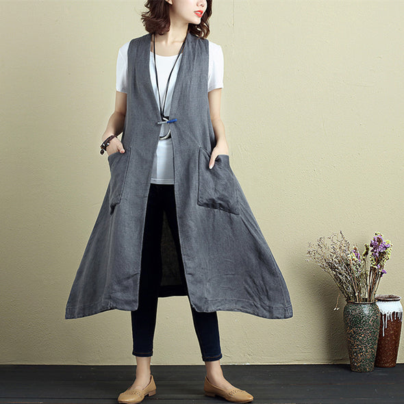 Fashionable Women Cotton Linen Sleeveless Cardigan Gray Coat - Buykud