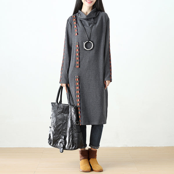 Women Semi-High Collar Casual Loose Splicing Gray Dress - Buykud