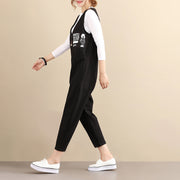Fashionable Chic Image Cotton Sleeveless Zipper Black Women Jumpsuits - Buykud