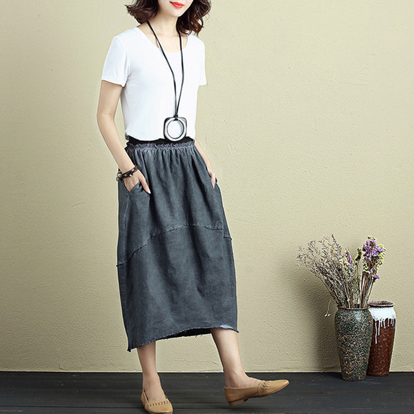 Women Cotton Linen Splicing Irregular Gray Tassel Skirt - Buykud
