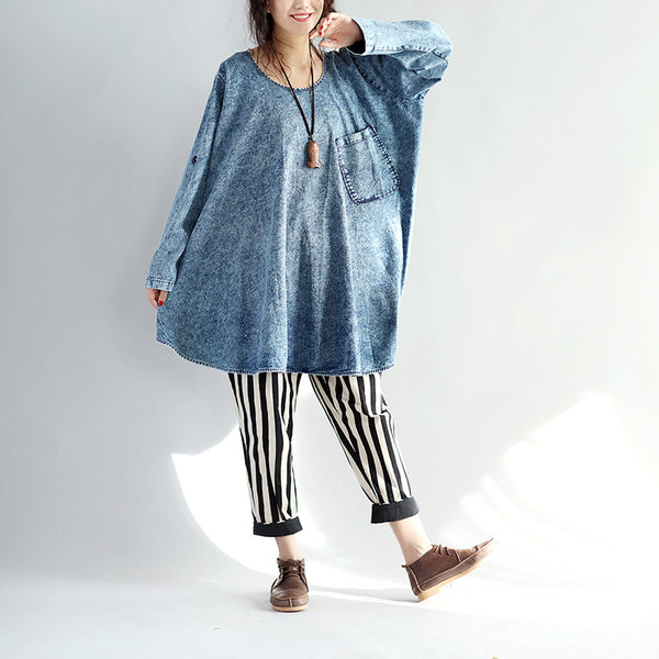 Women Round Neck Loose Pocket Denim Shirt