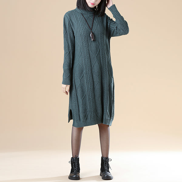 Mock Neck Long Sleeve Rib-Knit Jacquard Sweater Dress - Buykud