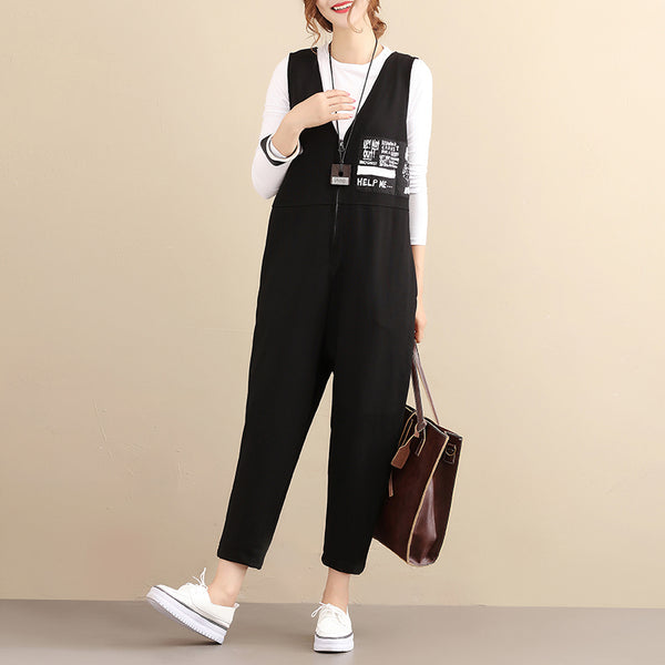 Fashionable Chic Image Cotton Sleeveless Zipper Black Women Jumpsuits