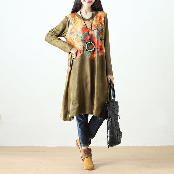 Women Printing Retro Pockets Long Sleeve Dark Yellow Dress - Buykud