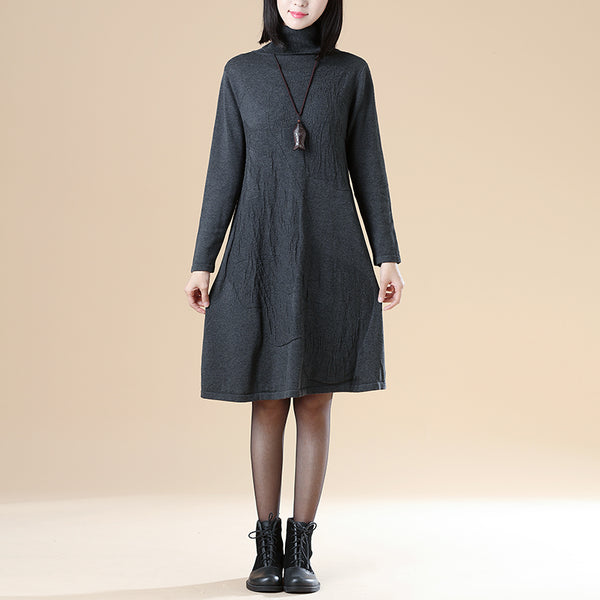 Autumn Jacquard Long Sleeve Knitted Sweater Gray Dress For Women