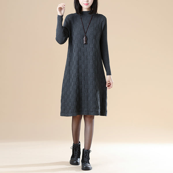 Autumn Chic Women Jacquard Mock Turtle Neck Gray Knitted Sweater Dress