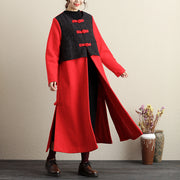Retro Splicing Frogs Embroidery Pockets Slit Coat - Buykud
