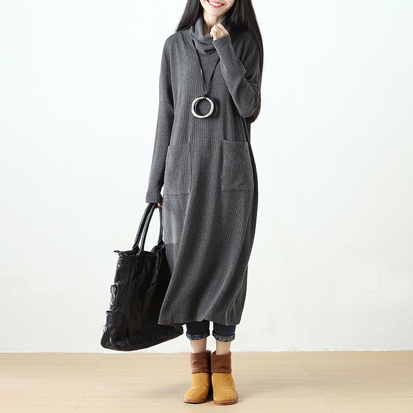 Women Turtleneck Gray Long Sleeve Casual Loose Pockets Dress - Buykud