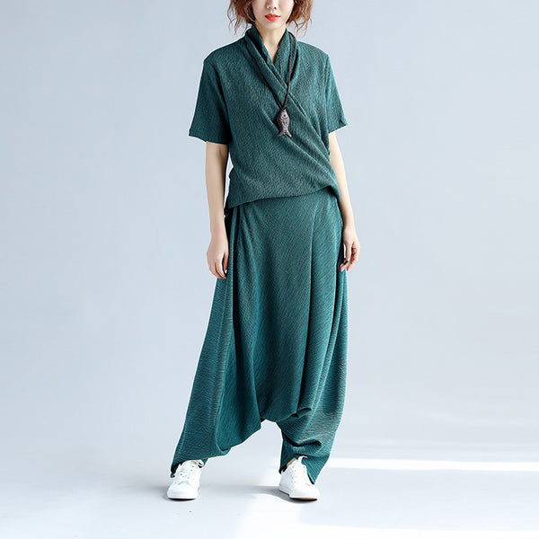 Folded Women Splicing Cotton Loose Linen Green Suits(Shirt+Pants)