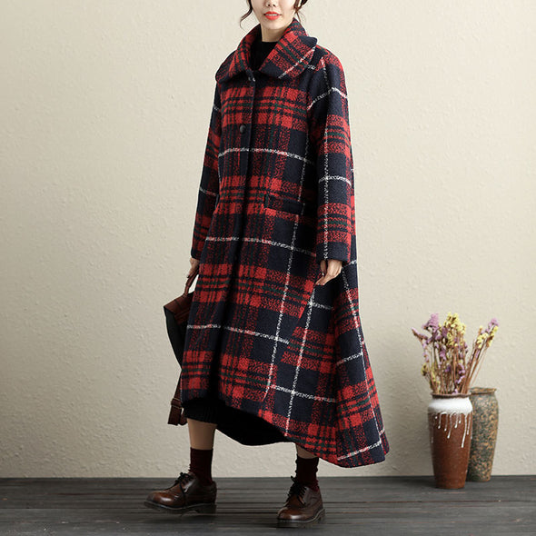 Spread Collar Single Breasted Lattice Front Pocket Long Coat For Women - Buykud