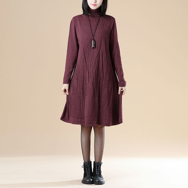 Autumn Jacquard Long Sleeve Knitted Sweater Red Dress For Women