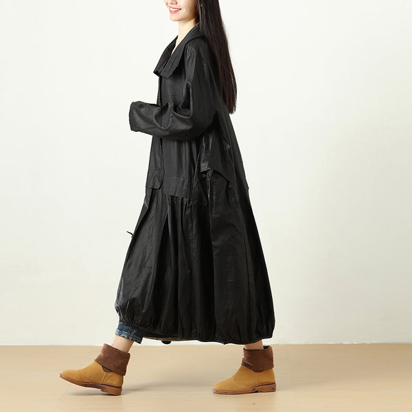 Women Polo Collar Buttons Long Sleeve Pleated Pockets Coat - Buykud