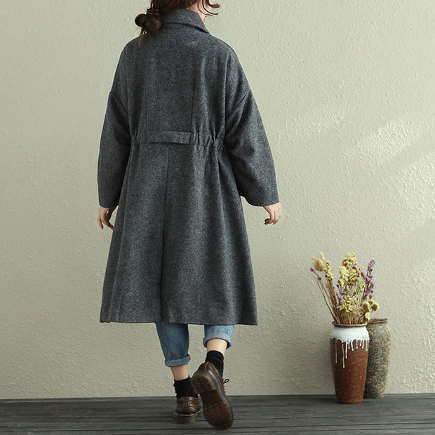 Women Autumn Winter Lapel Long Sleeve Casual Pleated Long Coat - Buykud