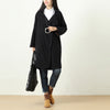 Women Polo Collar Single Breasted Long Sleeve Ramie Coat - Buykud