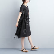 Women Summer Short Sleeve Draw-string Black Dress - Buykud