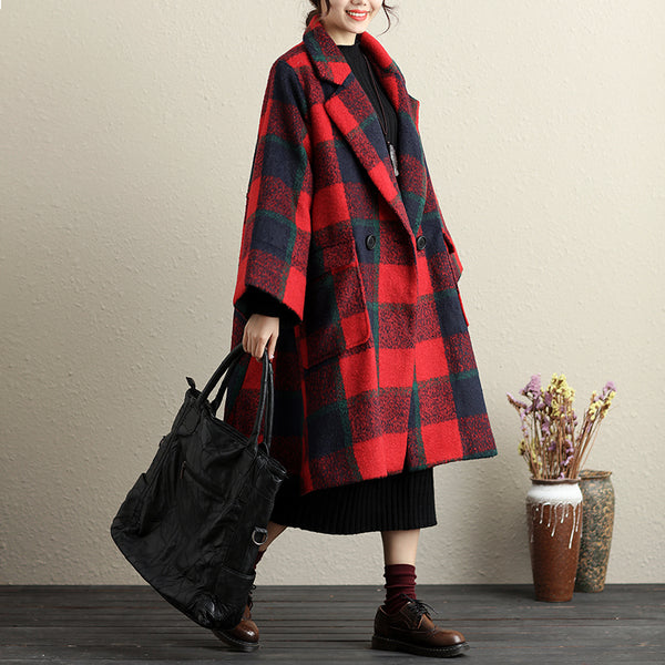 Shawl Collar Button-Front Long Sleeve Lattice Pockets Coat - Buykud