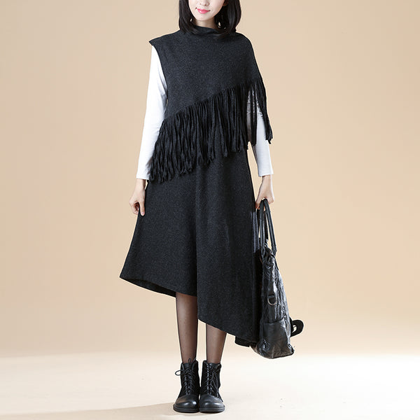 Mock Turtle Neck Special Design Tassel Asymmetrical Sleeve Irregular Dress For Women