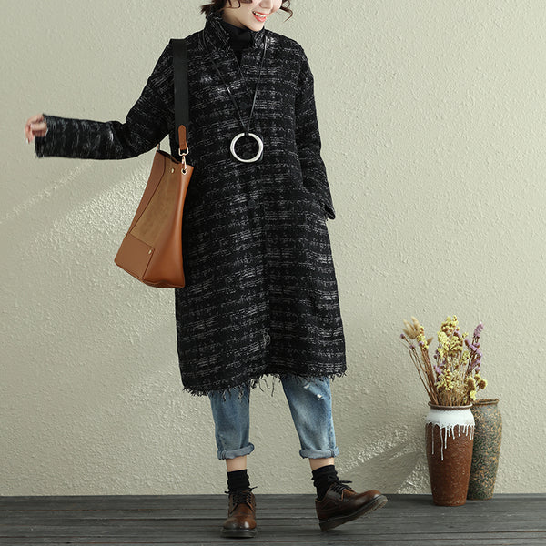 Women Autumn Winter Stand Collar Fringed Long Sleeve Long Coat - Buykud