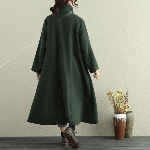 Women Autumn Winter Casual Long Sleeve Dark Green Long Coat - Buykud