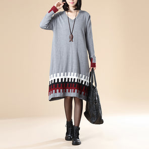 Women Casual Loose Long Sleeve Gray Sweater Dress - Buykud