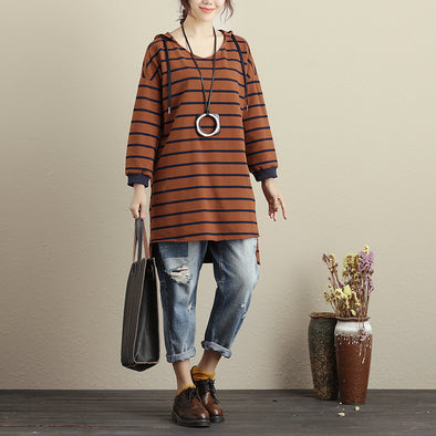 Hoody Cotton Women Long Sleeves Yellow Brown Stripe Shirt - Buykud