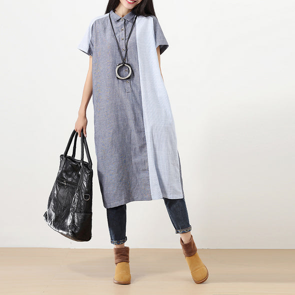 Polo Collar Short Sleeves Splicing Literature Blue And Gray Women Dress - Buykud