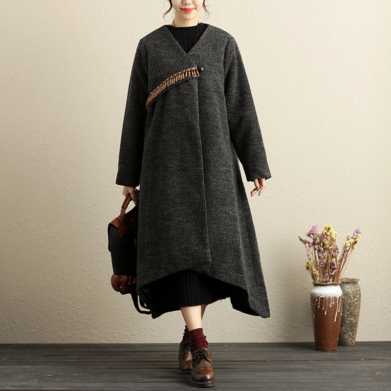 Winter Popular Accessories Trim Irregular Hem Gray Coat For Women - Buykud