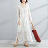Round Neck Long Sleeve Women White Two-Piece Dress+Vest - Buykud