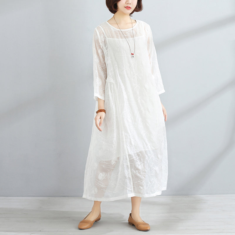 Spring Women Round Neck Three Quarter Sleeve White Dress - Buykud