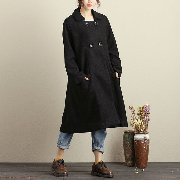 Winter Loose Double Breasted Black Overcoat For Women - Buykud