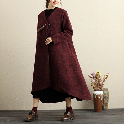 Winter Popular Accessories Trim Irregular Hem Red Coat For Women - Buykud