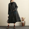 Women V Neck Long Sleeve Front Double Pockets Side Slit Gray Coat - Buykud
