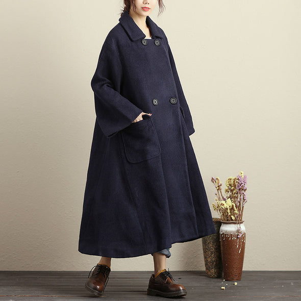Plus Size Polo Collar Long Sleeve Big Pocket Women Navy Blue Long Coat - Buykud