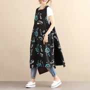 Unique Design Cotton Chic Printing Sleeveless Black Women Vest Dress - Buykud