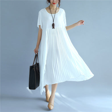 Folded Women Loose Casual Cotton Summer Splicing White Dress - Buykud