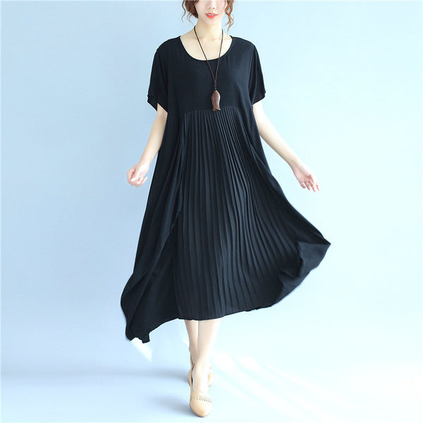 Folded Women Loose Casual Cotton Summer Splicing Black Dress
