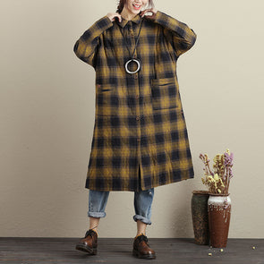 Women Autumn Lattice Polo Collar Single Breasted Long Sleeve Coat - Buykud