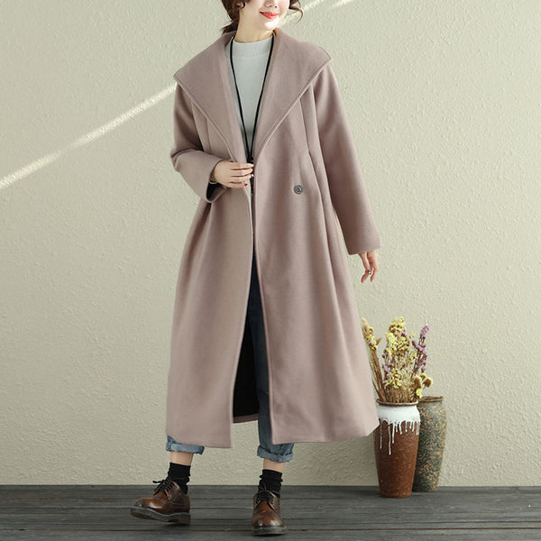 Autumn Winter Women Lapel Long Sleeve Long Coat - Buykud