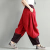 Casual Linen Loose Gradient Red And Orange Pants - Buykud